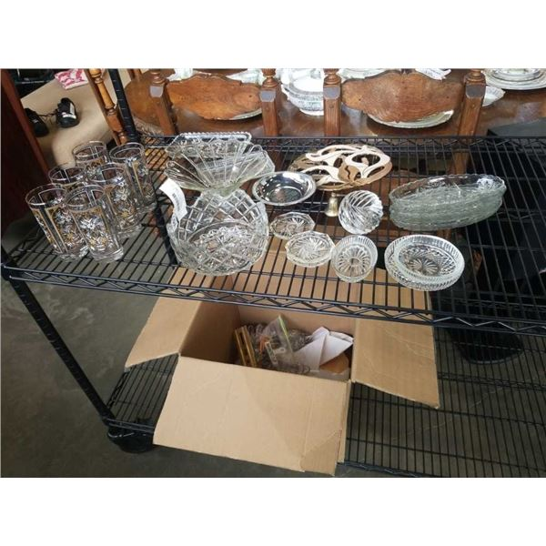 LOT OF CRYSTAL AND GLASSWARE, SERVING PIECES, MCM GLASSES