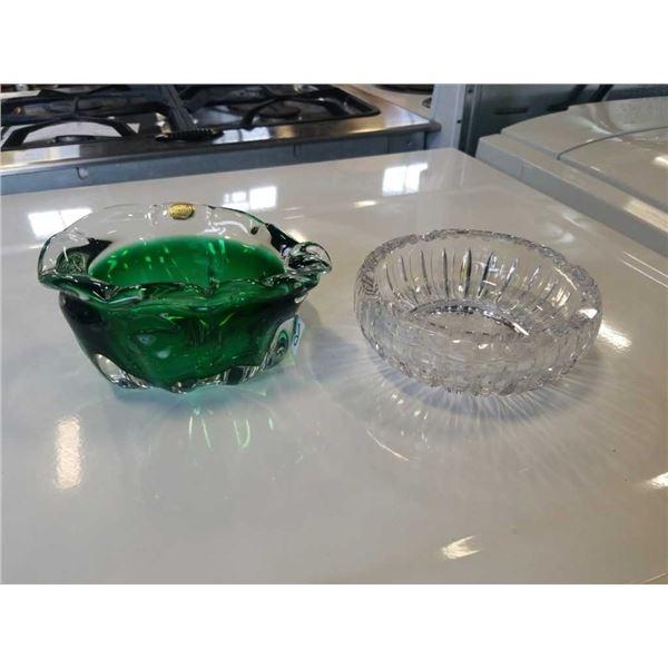BOHEMIA ART GLASS DISH AND HEAVY CRYSTAL BOWL