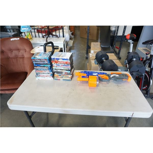 LOT OF DVDS, BLURAYS AND NERF GUN WITH MAGAZINE