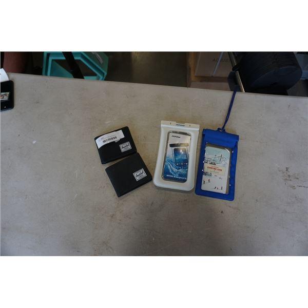 2 WATERPROOF PHONE BAGS AND 2 HERSCHEL WALLETS