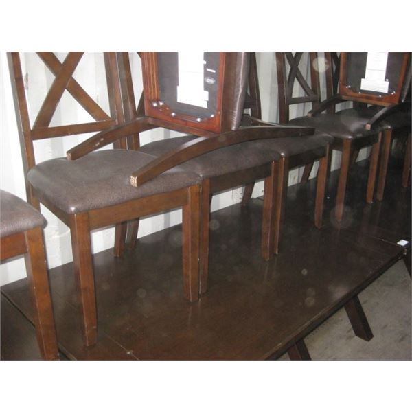 36 X 58 INCH KITCHEN TABLE W/ 4 CHAIRS WORN