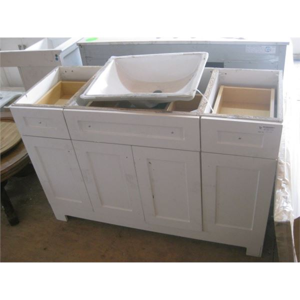 48 INCH VANITY W/ SINK AS IS DAMAGED FREIGHT