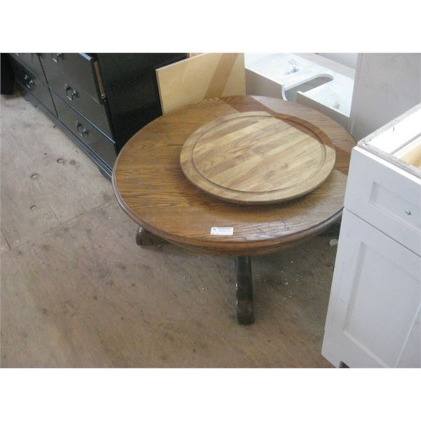 OAK COFFEE TABLE 33 INCH W/ LAZY SUSAN 21 INCH
