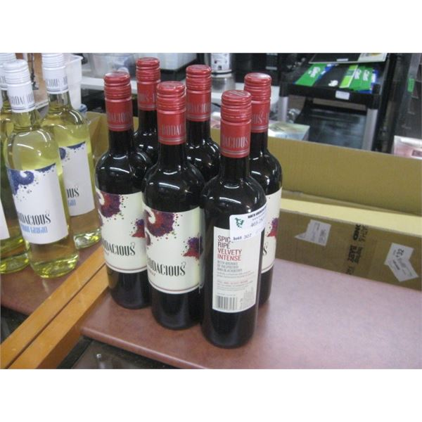 6 BOTTLES BODACIOUS SHIRAZ 750ML