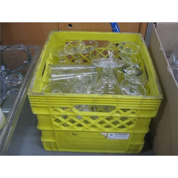 MILK CRATE OF ASSORTED GLASSWARE