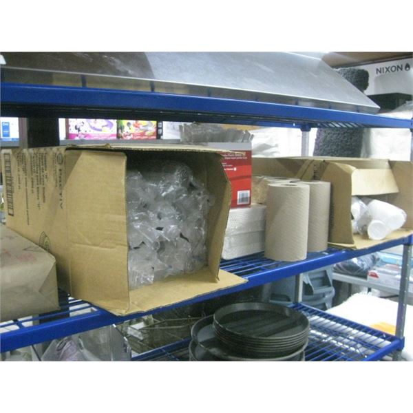 SHELF OF TAKEOUT DISHES / CONSUMABLES