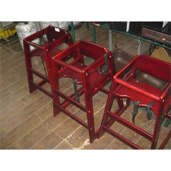 3 RED WOOD HIGH CHAIRS