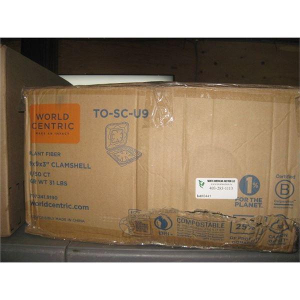 WORLD CENTRIC PLANT FIBER 9X9X3 CLAMSHEEL BOX CRUNCHED