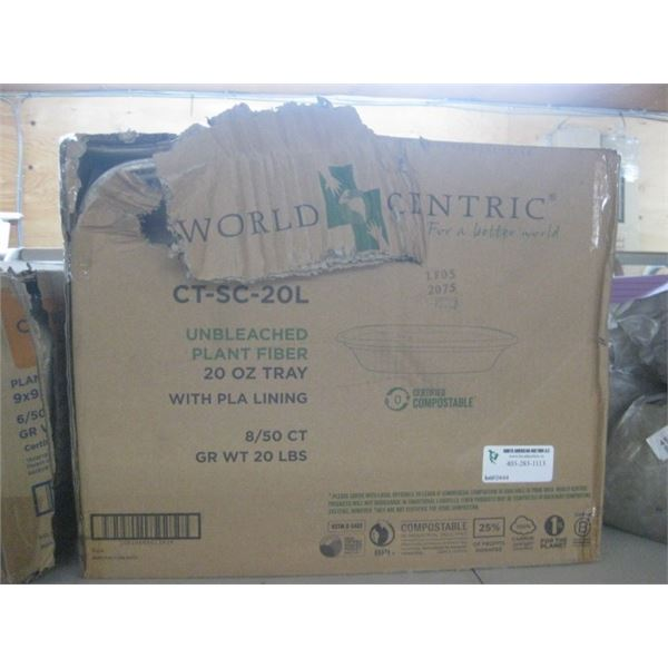 WORLD CENTRIC PLANT FIBER 20 OZ TRAY BOX DAMAGED
