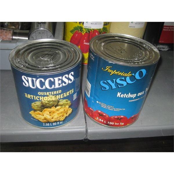 2 CANS ARTICHOKE AND KETCHUP