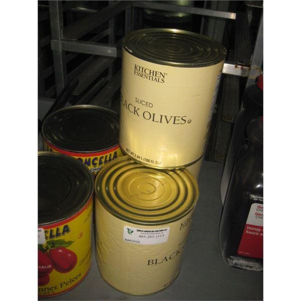 3 CANS SLICED BLACK OLIVES