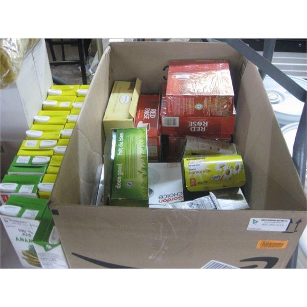 BOX OF ASSORTED TEAS ETC