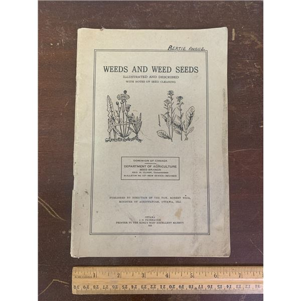 1935 DOMINION OF CANADA BOOK WEEDS AND WEED SEEDS 76 PAGES