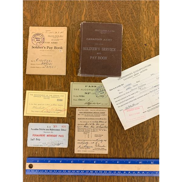 WWII PAPER LOT PAYBOOK PASSES ETC