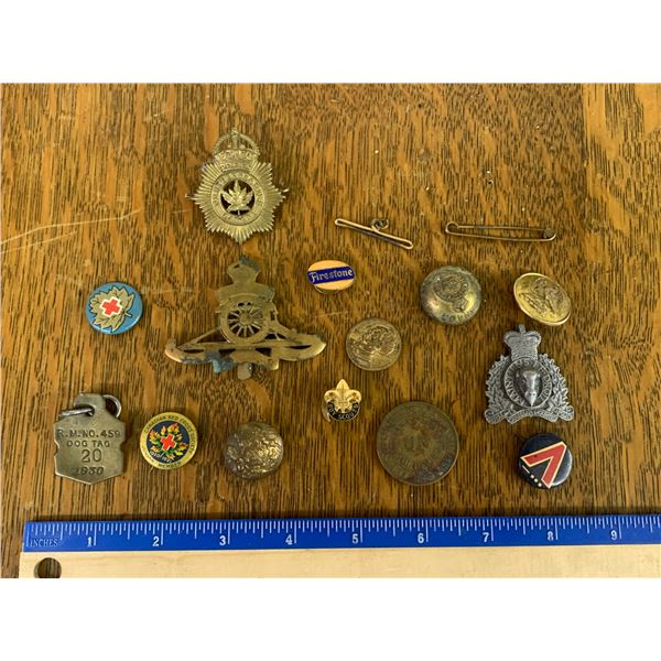 LOT OF SMALLS BADGES PINS BUTTONS ETC