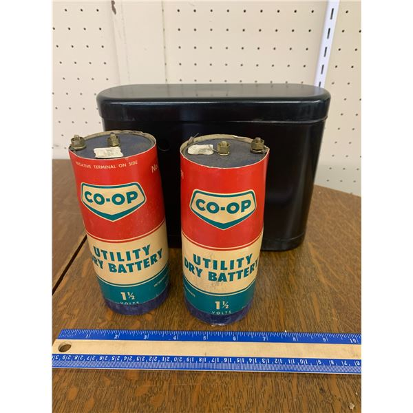 ANTIQUE COOP BATTERIES AND NORTHERN ELECTRIC CASE