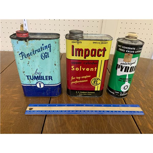 LOT OF 3 OIL CANS PYROIL IMPACT TUMPLER