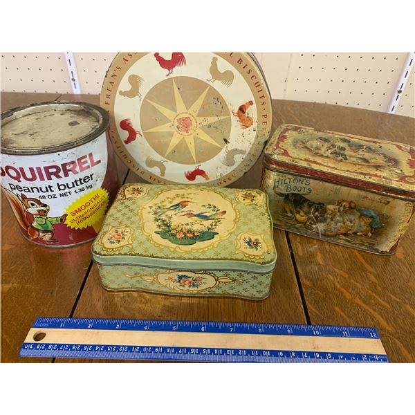 LOT OF TINS SQUIRRELS PEANUT BUTTER HUMMINGBIRD ROOSTER BOOTS