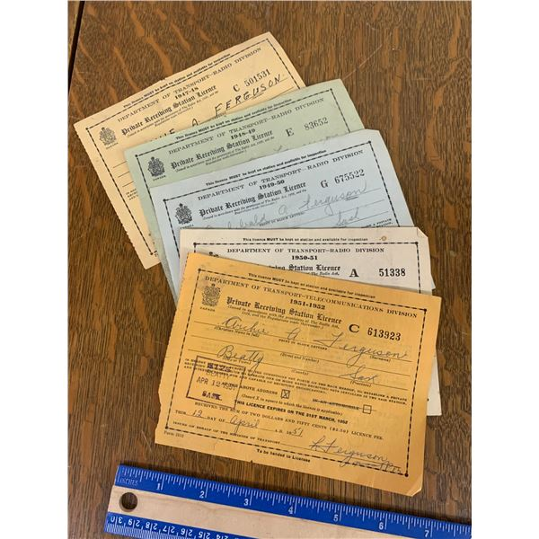 1940s 50s PRIVATE RADIO RECEIVING LICENCES