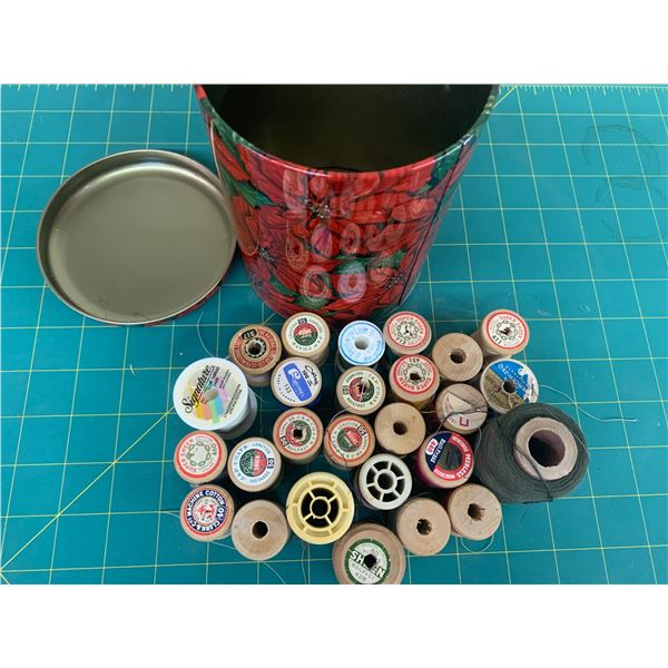 TIN OF THREAD, WOODEN SPOOLS ETC