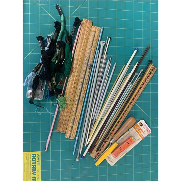 LOT OF KNITTING CROCHET NEEDLES ETC