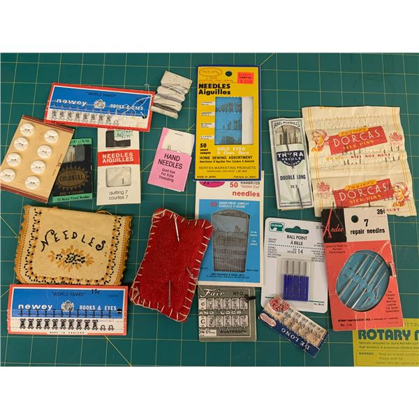 LOT OF SEWING NEEDLES ETC