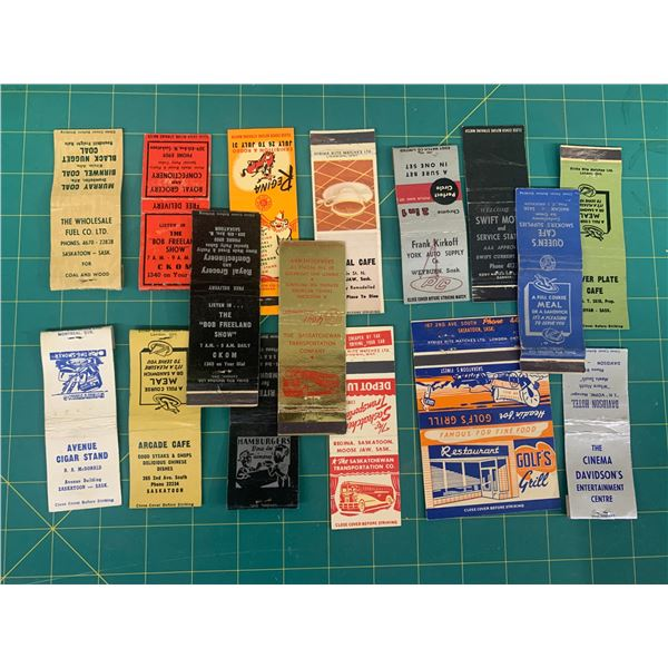 LOT OF VINTAGE SASKATCHEWAN ADVERTISING MATCH BOOK COVERS STC AND MORE