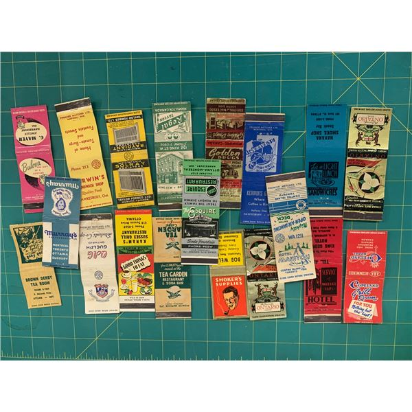 LOT OF VINTAGE ONTARIO ADVERTISING MATCH BOOK COVERS