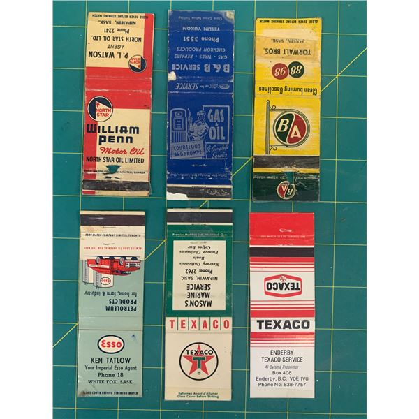 LOT OF VINTAGE GAS AND OIL ADVERTISING MATCH BOOK COVERS NORTH STAR WILLIAM PENN TEXACO ESSO BA
