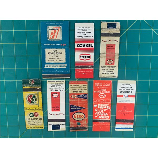 LOT OF VINTAGE GAS AND OIL ADVERTISING MATCH BOOK COVERS  ROYALITE TEXACO ESSO BA
