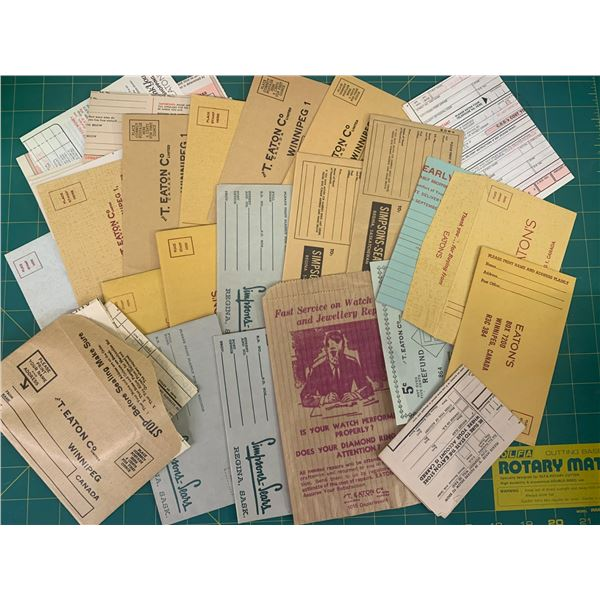LOT OF VINTAGE EATONS SIMPSONS SEARS ORDER FORMS ENVELOPES ETC