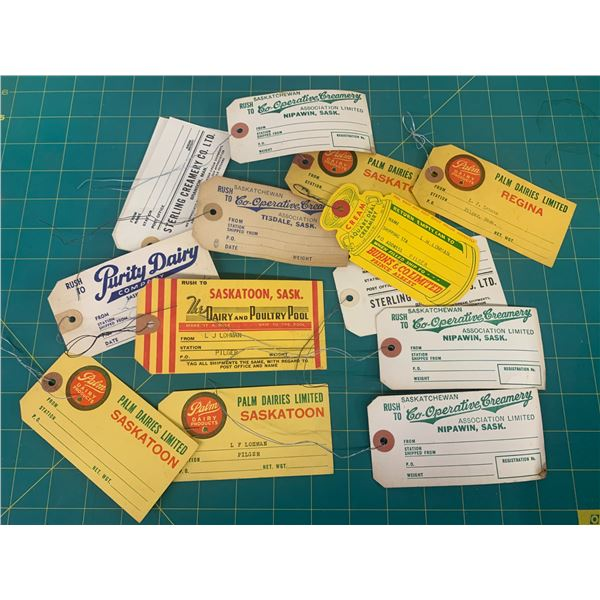LOT OF VINTAGE CREAMERY CREAM CAN TAGS