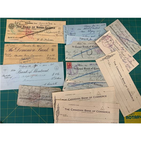 LOT OF OLD CHEQUES ONE PAID TO HART PARR