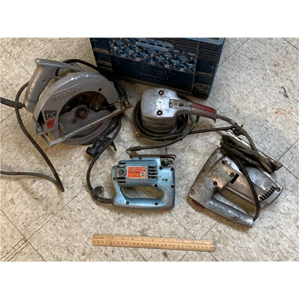 OLDER POWER TOOLS AND MILK CRATE