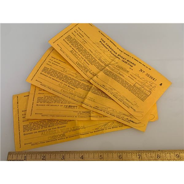 1930s CANADIAN WHEAT BOARD PRODUCER RECEIPTS