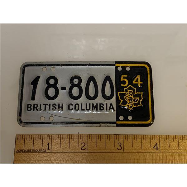 1954 WHEATIES CEREAL MINI LICENCE PLATE BRITISH COLUMBIA