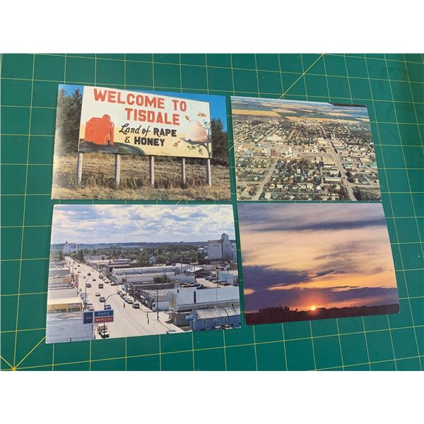 """TISDALE SASK UNUSED POST CARDS """"THE LAND OF RAPE AND HONEY"""" VINTAGE"""