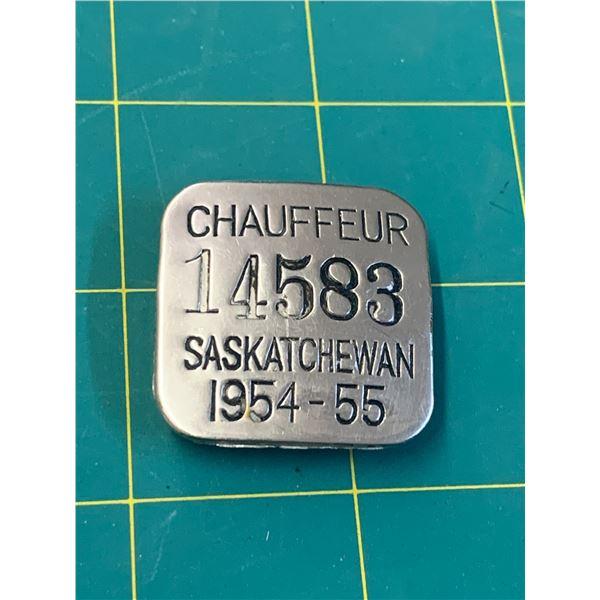 1954-55 SASKATCHEWAN CHAUFFEUR BADGE