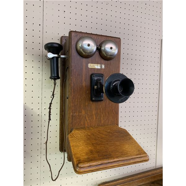 ANTIQUE NORTHERN ELECTRIC OAK WALL PHONE