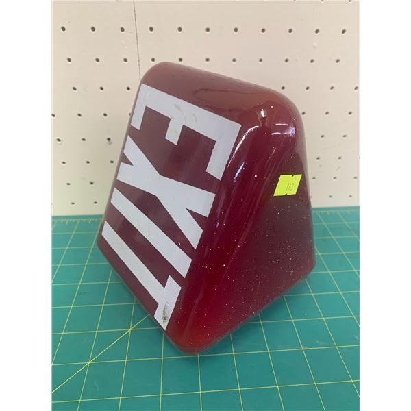 """VINTAGE TRIANGLE RUBY RED EXIT SIGN LIGHT COVER 6 3/4"""""""
