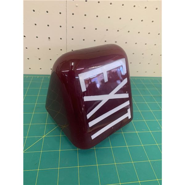 """VINTAGE TRIANGLE RUBY RED EXIT SIGN LIGHT COVER 5"""""""
