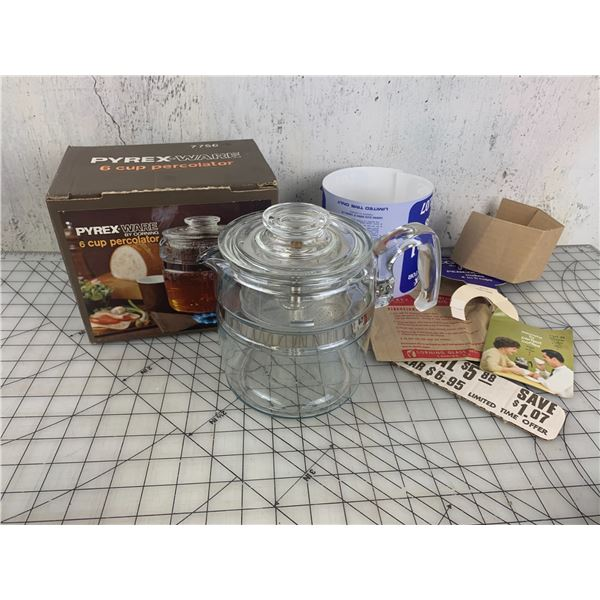 VINTAGE PYREX 6 CUP COFFEE PERCOLATOR WITH BOX