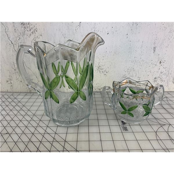 ANTIQUE PITCHER AND SUGAR DISH (sugar chipped)
