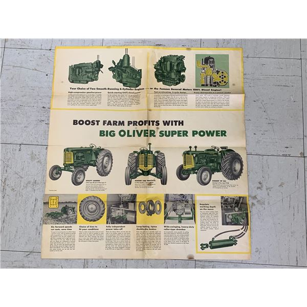 1957 OLIVER TRACTOR ADVERTISING FOLDOUT BROCHURE