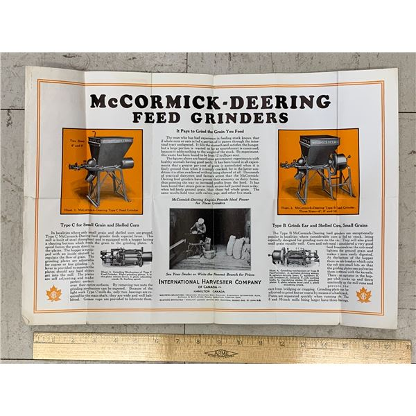 1915 IHC INTERNATIONAL HARVESTER FOLD OUT MCCORMICK DEERING GRINDERS ADVERTISING BROCHURE