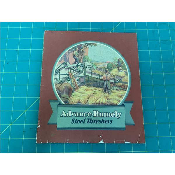 ORIGINAL ADVANCE RUMELY STEEL THRESHER ADVERTISING BROCHURE 1897? 24 PAGES COVER DETACHED