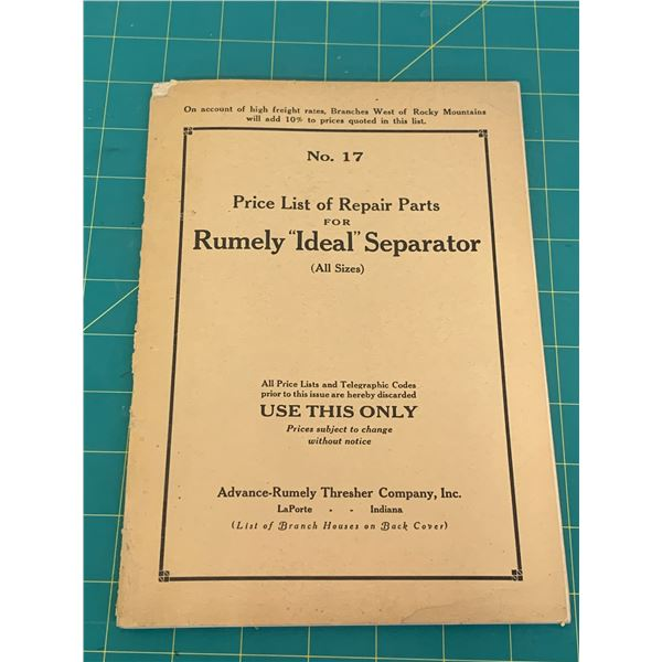 ORIGINAL 68 PAGE RUMELY IDEAL SEPERATOR THRESHING MACHINE PARTS LIST BOOK
