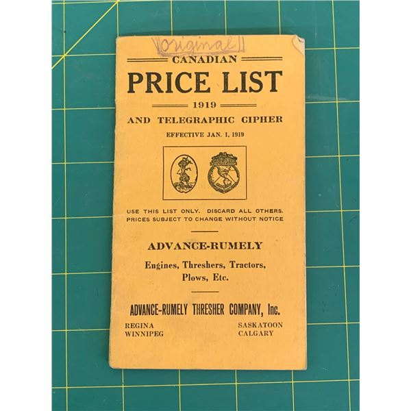 ORIGINAL 1919 ADVANCE RUMELY CANADIAN PRICE LIST POCKET BOOK TRACTORS THRESHERS