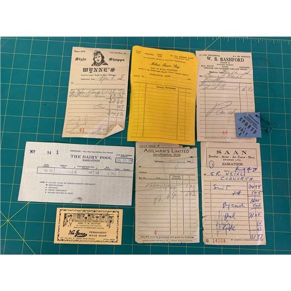 LOT OF SASKATOON ROSTERN 1940s RECEIPTS ETC