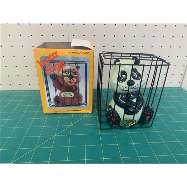 VINTAGE BEAR IN A CAGE PIGGY BANK WITH BOX